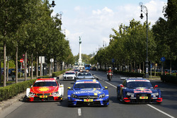 The cars with Augusto Farfus, BMW Team MTEK, BMW M4 DTM, Paul Di Resta, Mercedes-AMG Team HWA, Mercedes-AMG C63 DTM and Jamie Green, Audi Sport Team Rosberg, Audi RS 5 DTM at Budpest city