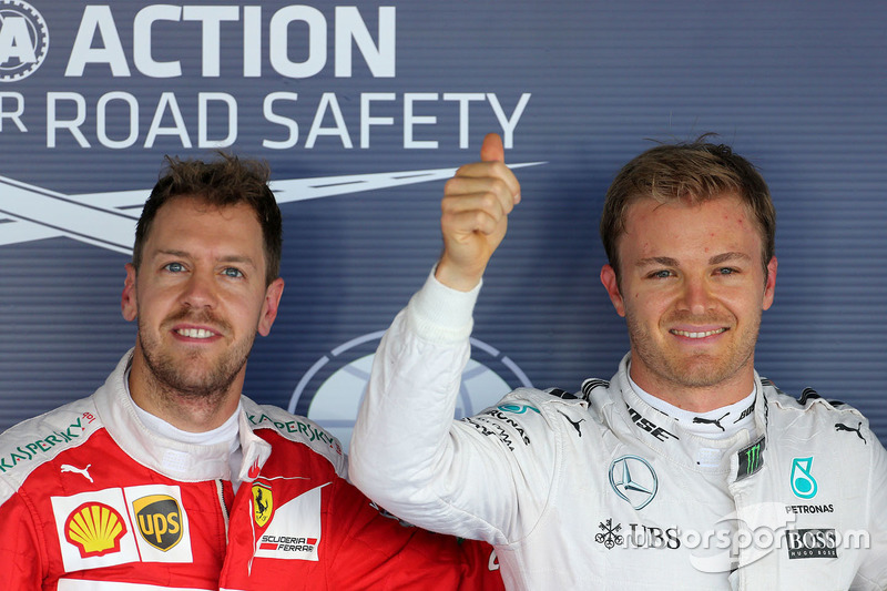Polesitter: Nico Rosberg, Mercedes AMG F1 Team, und Sebastian Vettel, Ferrari