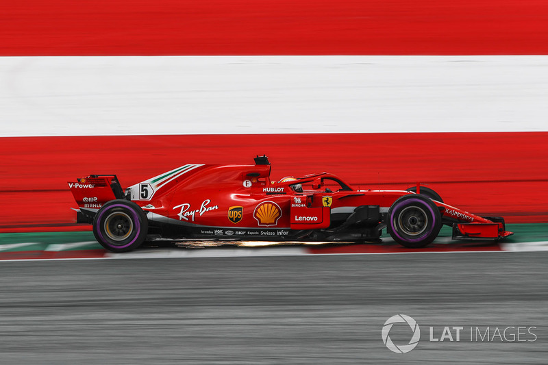 Sebastian Vettel, Ferrari SF71H and sparks