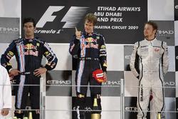 Podium: second place Mark Webber, Red Bull Racing, Race winner Sebastian Vettel, Red Bull Racing, third place Jenson Button, Brawn GP