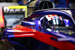 Pierre Gasly, Toro Rosso, in his cockpit