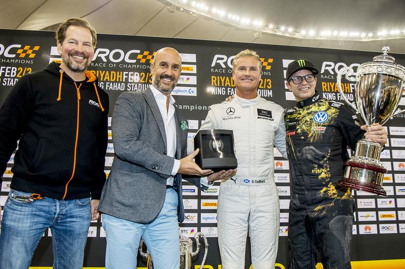 Il vincitore David Coulthard, il secondo classificato Petter Solberg, Fredrik Johnsson