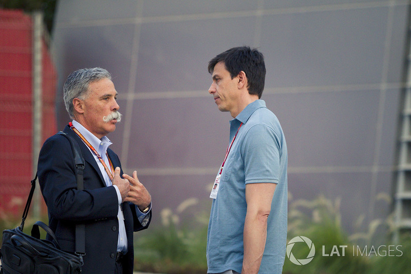Chase Carey, Chief Executive Officer and Executive Chairman of the Formula One Group and Toto Wolff, Mercedes AMG F1 Director of Motorsport