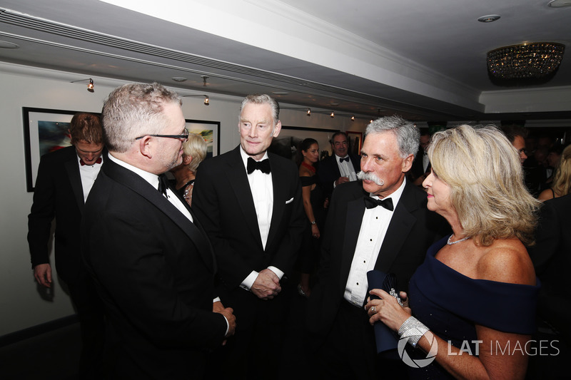 Sean Bratches, Managing Director of Commercial Operations, Formula One Group, Chase Carey, Chairman, Formula One, with guests