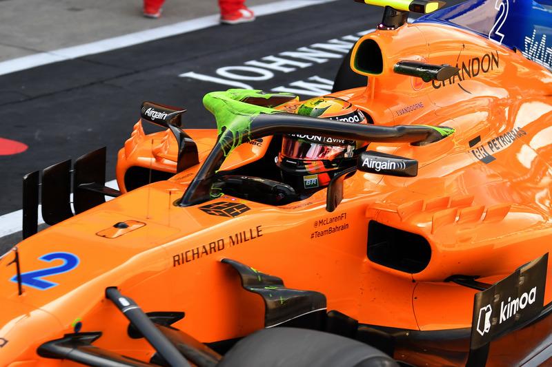 Pintura sobre el Halo del McLaren MCL33