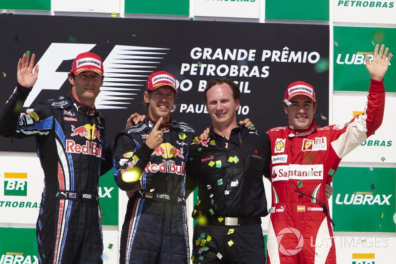 2010: 1. Sebastian Vettel, 2. Mark Webber, 3. Fernando Alonso