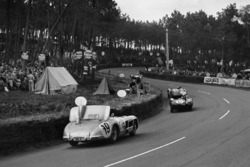 #6 Jaguar D-type: Mike Hawthorn, Ivor Bueb leads #19 Mercedes Benz 300S: Juan Manuel Fangio, Stirling Moss