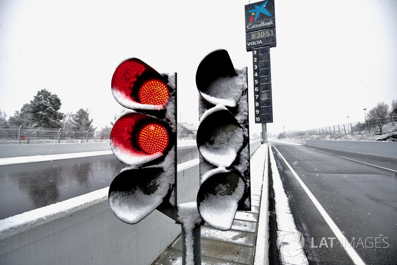 Red light as snow stops testing