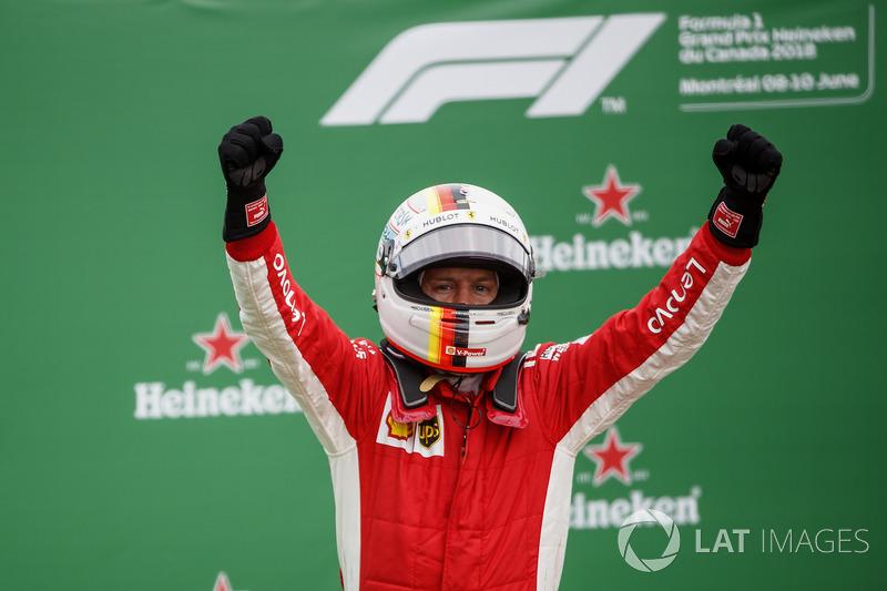 Sebastian Vettel, Ferrari, 1st position, celebrates in Parc Ferme