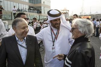 Jean Todt, Presidente FIA, Mohammed Bin Sulayem e Bernie Ecclestone, in griglia di partenza