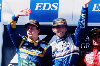Damon Hill, Williams Renault, 1st position, Olivier Panis, Ligier Mugen-Honda, 2nd position, Gianni Morbidelli, Footwork Hart, 3rd position on the podium