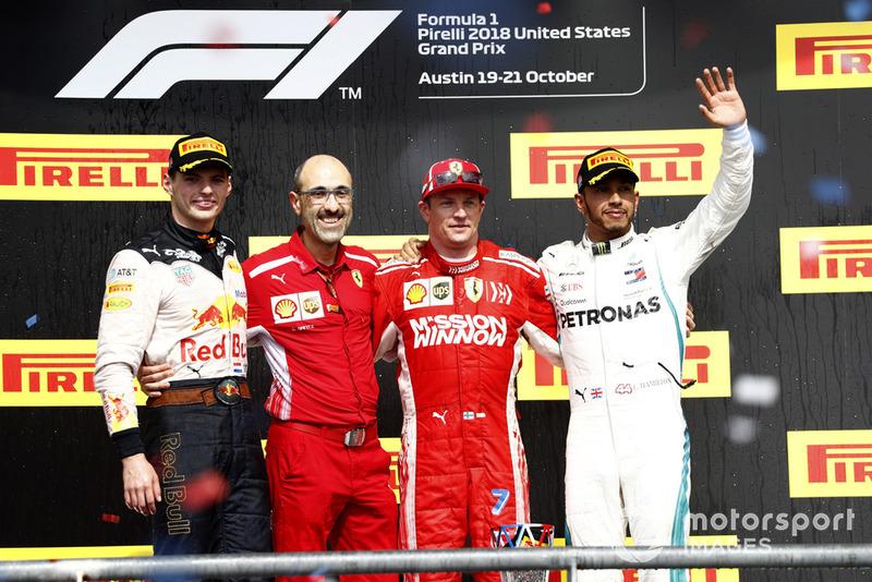 18. GP Amerika Serikat - Podium: Kimi Raikkonen, Max Verstappen, Lewis Hamilton