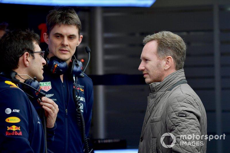 Christian Horner, Team Principal, Red Bull Racing, in the garage