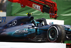 The car of Valtteri Bottas, Mercedes AMG F1 W08 on a truck after engine issues
