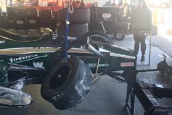 J.R. Hildebrand, Ed Carpenter Racing Chevrolet after a crash