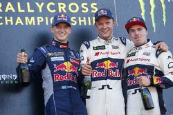 Podium : le vainqueur Mattias Ekström, EKS RX Audi S1, le deuxième Timmy Hansen, Team Peugeot Hansen, le troisième Toomas Heikkinen, EKS RX Audi S1