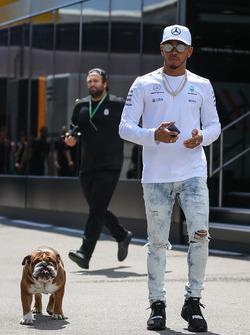 Lewis Hamilton, Mercedes AMG F1, mit Hund Roscoe