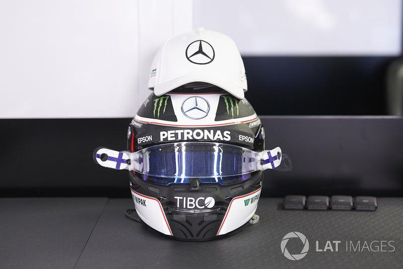 The helmet of Valtteri Bottas, Mercedes AMG F1