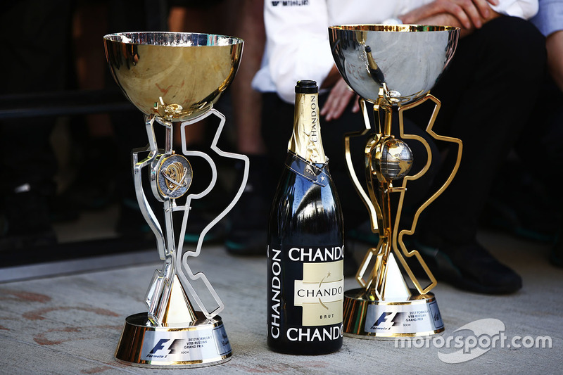 The winner's trophies belonging to Valtteri Bottas, Mercedes AMG F1