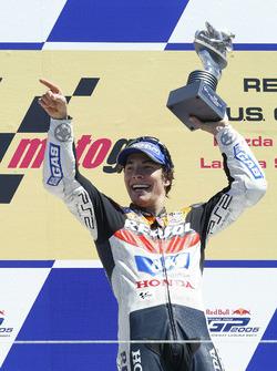Nicky Hayden, Repsol Honda Team celebrate on the podium