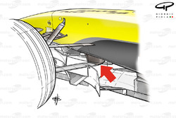 Jordan EJ14 front suspension, lower wishbone L shaped keel fixture point (arrowed)