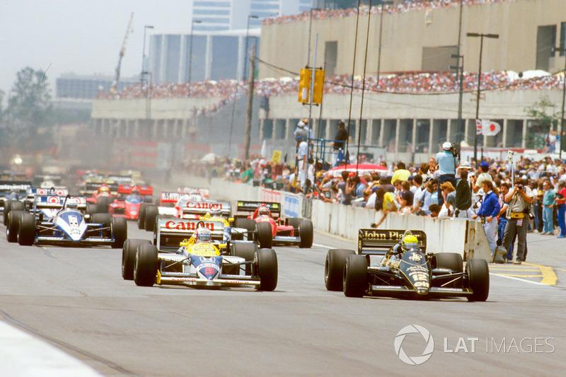 Start: Ayrton Senna, Lotus 98T Renault ve Nigel Mansell, Williams FW11 Honda