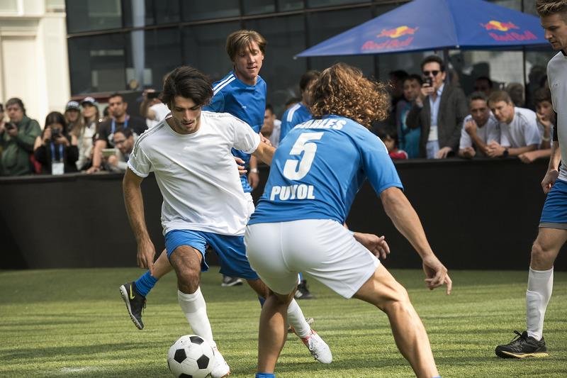 Carlos Sainz Jr., Scuderia Toro Rosso performs during a soccer match at Plaza Carso rooftop