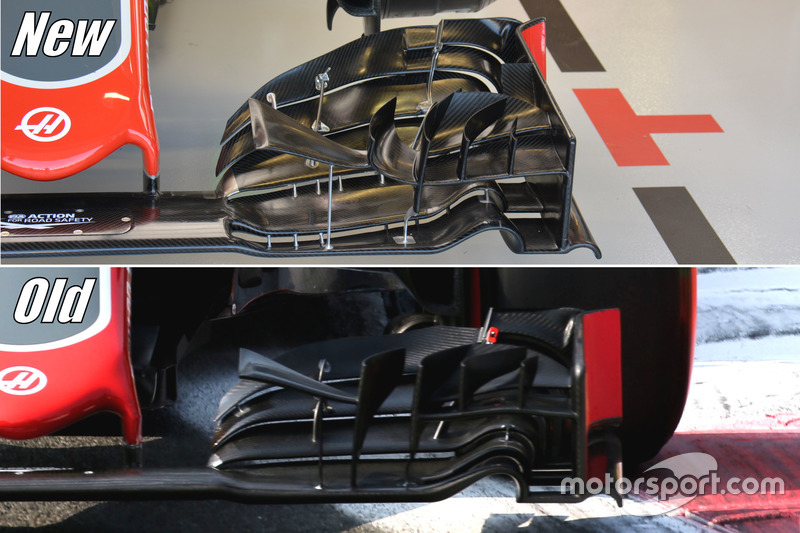 Haas F1 Team VF-16, front wing comparsion
