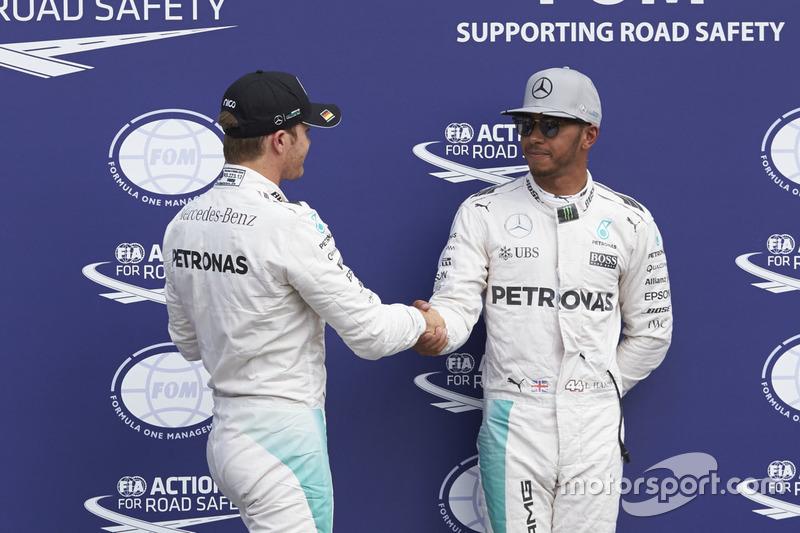 Polesitter Nico Rosberg, Mercedes AMG F1, second position Lewis Hamilton, Mercedes AMG F1