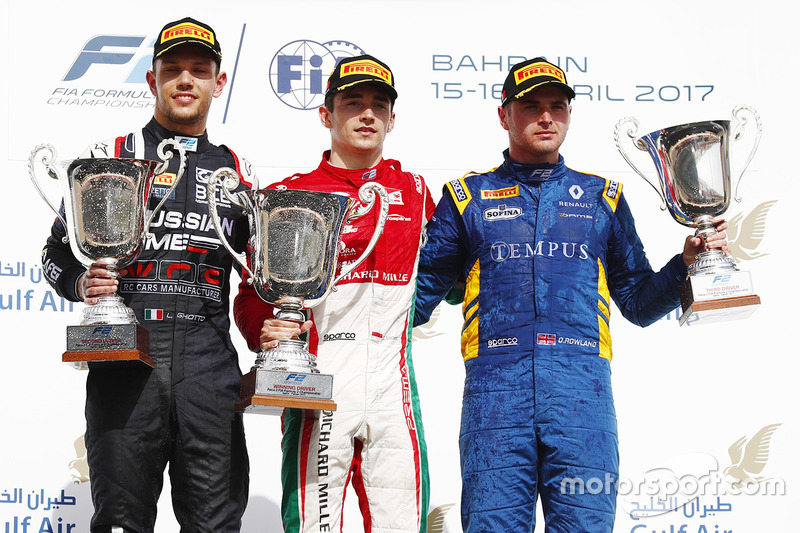Podium: race winner Charles Leclerc, PREMA Racing, second place Luca Ghiotto, RUSSIAN TIME, third place Oliver Rowland, DAMS