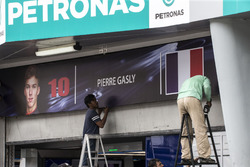 The garage sign of Pierre Gasly, Scuderia Toro Rosso is erected