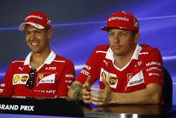 Kimi Raikkonen, Ferrari, Sebastian Vettel, Ferrari, in The FIA press conference