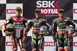 Podium: race winner Jonathan Rea, Kawasaki Racing, second place Chaz Davies, Ducati Team, third place Tom Sykes, Kawasaki