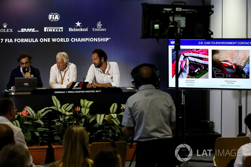 Laurent Mekies, FIA Safety Director, Charlie Whiting, FIA Delegate and Matteo Bonciani, FIA Media Delegate in the Press Conference for the Halo device