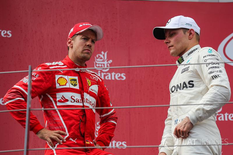 Podyum: Yarış galibi Valtteri Bottas, Mercedes AMG F1, 2. Sebastian Vettel