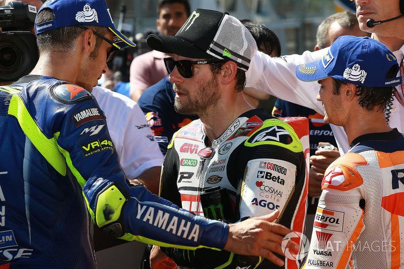 Друге місце Валентино Россі, Yamaha Factory Racing, Кел Кратчлоу, Team LCR Honda, третє місце Дані Педроса, Repsol Honda Team
