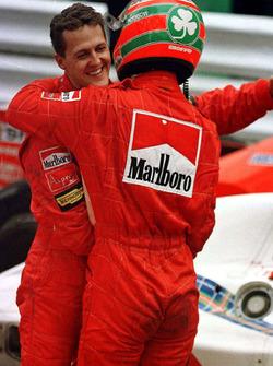 Michael Schumacher, Ferrari and team mate Eddie Irvine, Ferrari