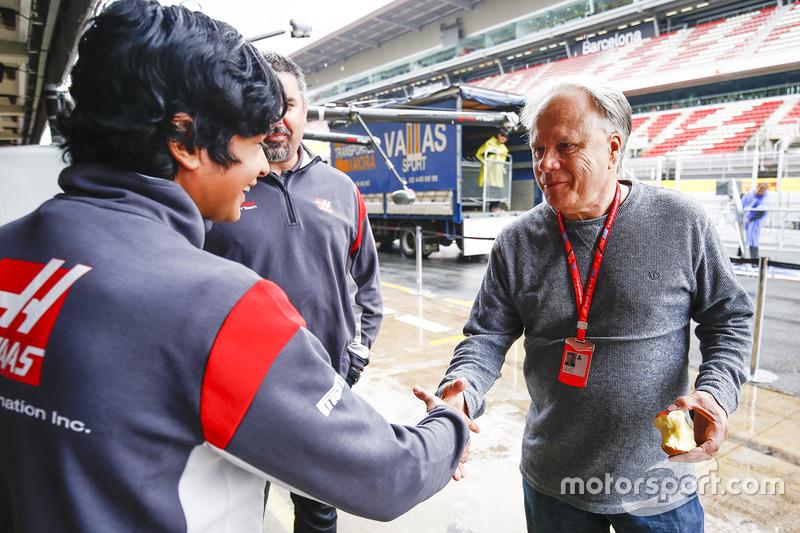 Arjun Maini, Development Driver, Haas F1 Team F1 Team, meets Gene Haas F1 Team, Owner and Founder, Haas F1 Team F1