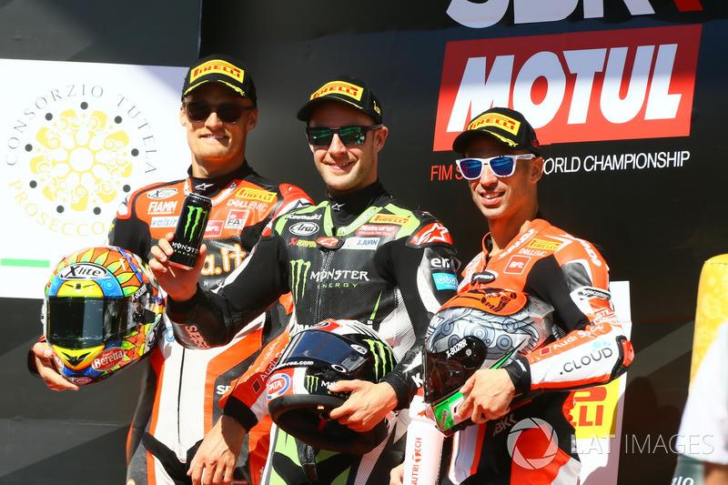 Il vincitore della gara Jonathan Rea, Kawasaki Racing, Chaz Davies, Ducati Team, Marco Melandri, Ducati Team