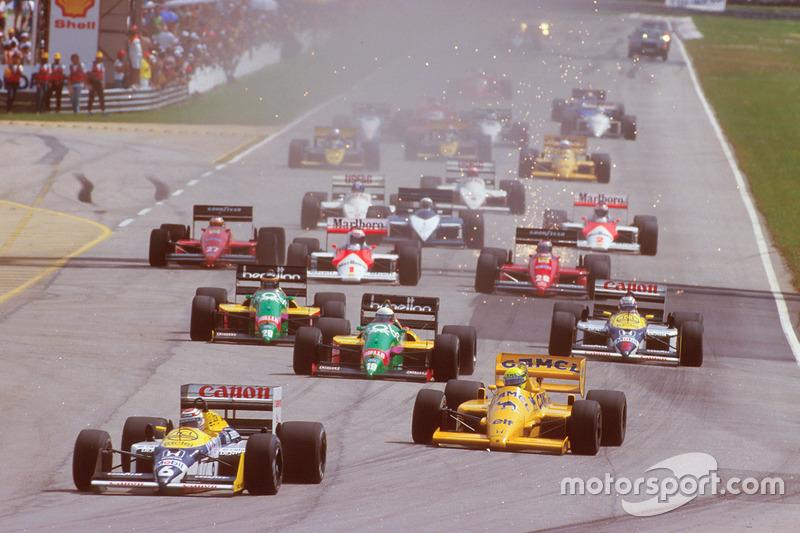 Nelson Piquet, Williams FW11B Honda, Ayrton Senna, Team Lotus Honda 99T, Teo Fabi, Benetton B187 Ford, Thierry Boutsen, Benetton B187 Ford ve Nigel Mansell, Williams FW11B Honda