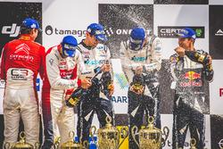 Podium: Winners Ott Tänak, Martin Järveoja, Ford Fiesta WRC, M-Sport, second place Andreas Mikkelsen, Anders Jäger, Citroën C3 WRC, Citroën World Rally Team, third place Sébastien Ogier, Julien Ingrassia, Ford Fiesta WRC, M-Sport