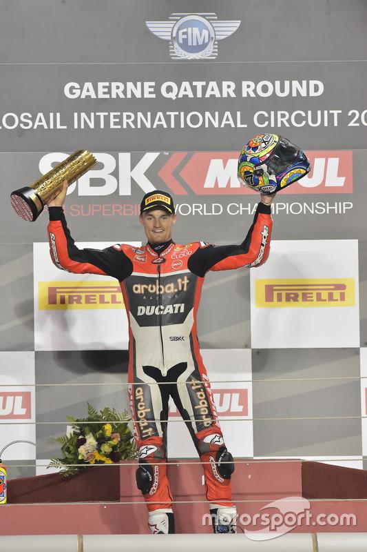 Podium : le vainqueur Chaz Davies, Ducati Team