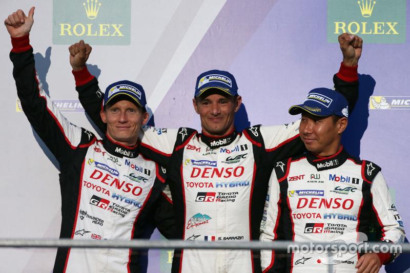Podium: third place #6 Toyota Racing Toyota TS050 Hybrid: Stéphane Sarrazin, Mike Conway, Kamui Kobayashi
