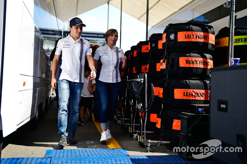 (L to R): Felipe Massa, Williams with Claire Williams, Williams Deputy Team Principal