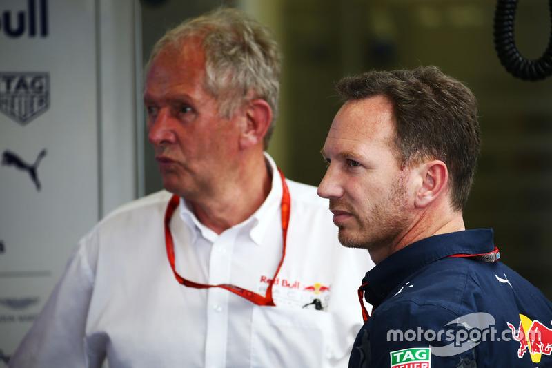 Dr. Helmut Marko, Red Bull Motorsport Consultor con Christian Horner, jefe de equipo de carreras de