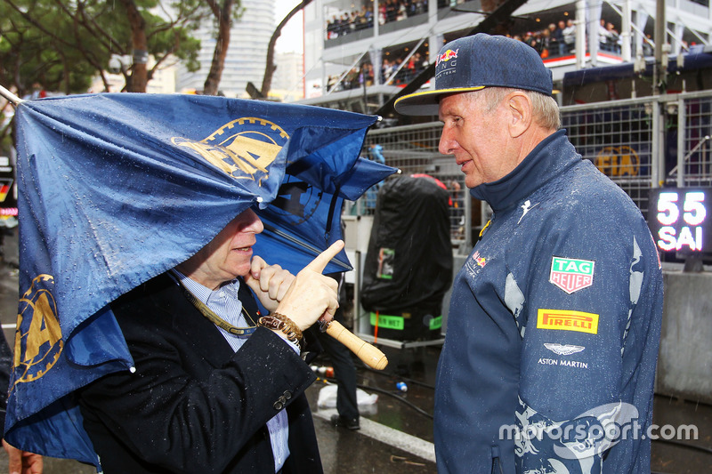 (L to R): Jean Todt, FIA President on the grid with Dr Helmut Marko, Red Bull Motorsport Consultant