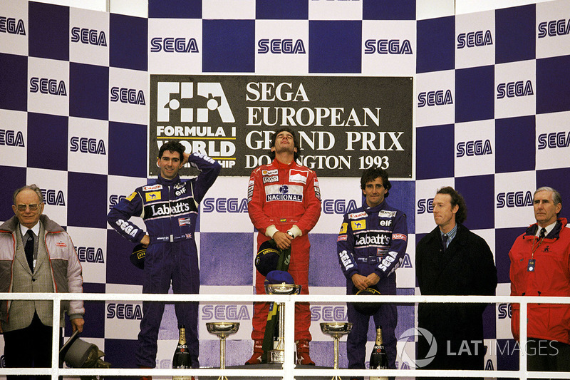 Race winner Ayrton Senna, McLaren, second place Damon Hill, Williams, third place Alain Prost, Williams