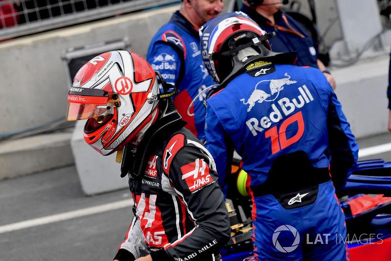 Kevin Magnussen, Haas F1, dan Pierre Gasly, Toro Rosso
