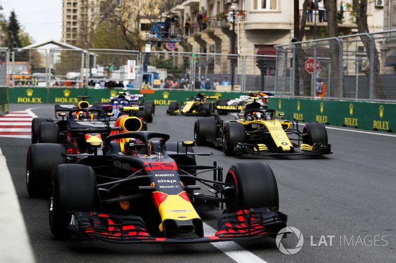 Max Verstappen, Red Bull Racing RB14 Tag Heuer, Carlos Sainz Jr., Renault Sport F1 Team R.S. 18, Daniel Ricciardo, Red Bull Racing RB14 Tag Heuer, and Pierre Gasly, Toro Rosso STR13 Honda