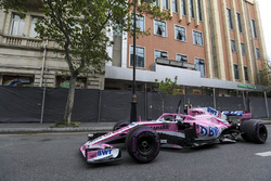 The crashed car of Esteban Ocon, Force India VJM11
